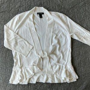 WHBM ruffled open cardigan w/tie, ivory, size L
